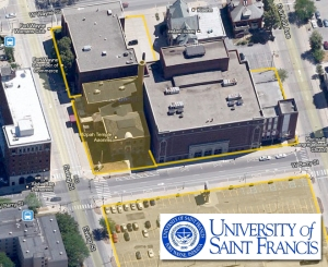 Previous Purchases Include the former Scottish Rite & the Chamber building (outlined in orange)Current purchase includes Mizpah shrine & adjacent parking lot (highlighted in orange)